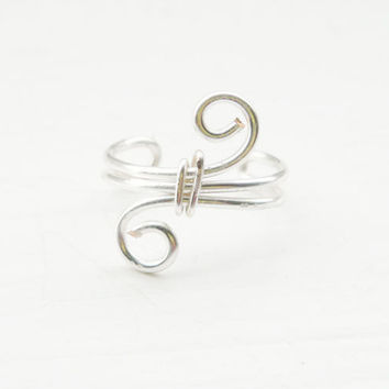 Ear Cuff Silver Ear Wrap Swirl Small Ear by MaggieMadeWithLove