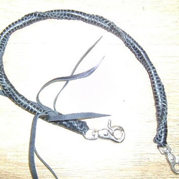handmade woven leather key lanyard black thick