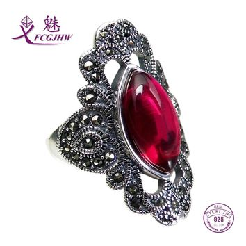 Rings for Women 925 Sterling Silver Fine Jewelry Vintage Solitaire Oval Shape Red Chalcedony Flower Classic Adjustable
