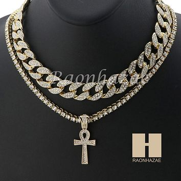 "14K GOLD PT ANKH CROSS ICED OUT MIAMI CUBAN 16""~30"" CHOKER TENNIS CHAIN S040"