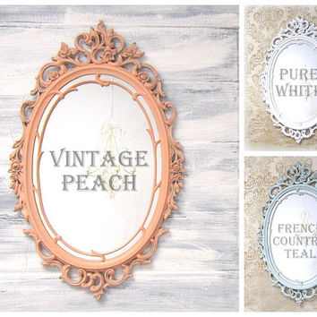 SHABBY CHIC NURSERY Mirror Framed Decorative Mirror Baby Girl Nursery White Mirror Shabby Chic