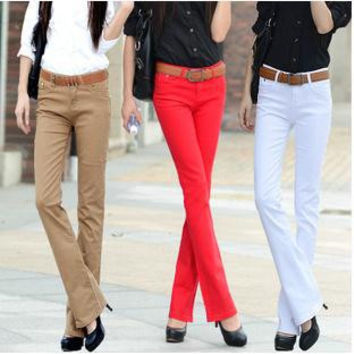 2016 Women casual Candy Colors Pencil Pants Slim Fit Skinny Stretch Jeans Trousers,10 Color Slightly flared trousers