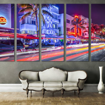 Miami Canvas Print Cityscape Large Wall Art 5 Panel Wall Hanging Sky View Canvas Art Living Room & Home Decor / Interior Design, Room Decor