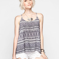 Patrons Of Peace Boho Print Womens Lattice Back Tank Navy  In Sizes