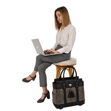 """""""THE DALLAS"""" Tooled Rolling iPad, Tablet or Laptop Tote Holdall Bag (fits up to 17""""/17.3"""" laptop)"""