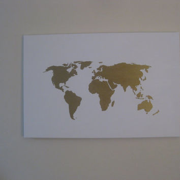 Hand painted map of the world White and by 10kiaatstreet on Etsy