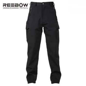 REEBOW TACTICAL Outdoor Hiking Softshell Fleece Pants Men Winter Sports Military Camouflage Thermal Breathable Hunting Trousers