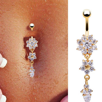 Crystal Flower Beauty Dangle Navel Belly Button Ring Bar Body Piercing Jewelry NEW