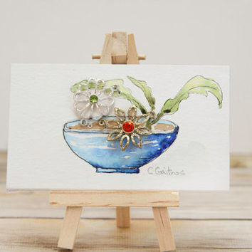 Small Original art with easel, blue, rustic flower bowl, contemporary jewelry ,gifts for her, thank you gift affordable gift under 30
