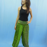 Women Silk Sari Patchwork Harem Trouser Pants Baggy Genie Fisherman man Pants Casual Festival Yoga Boho Gypsy Indian Loose Pants S M L
