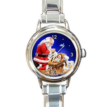 Christmas Santa Watching Jesus on a Girls Round Silver Italian Charm Watch.. Think Small Wrist