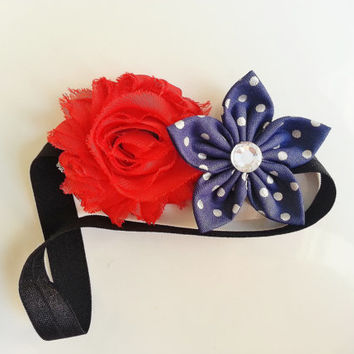 4th of July Headband, Patriotic Accessories, Red White and Blue Headband, Shabby Headband, Toddler Headband