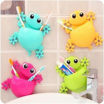 1PC Animal Frog Silicone Toothbrush Holder Family Set Wall Bathroom Hanger Suction [8045605063]