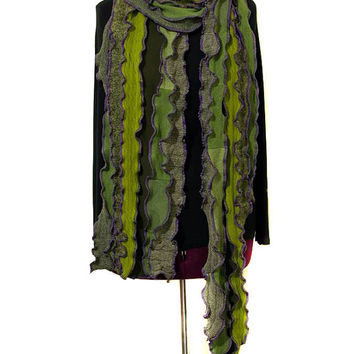 Scarf, Green with Purple Seams