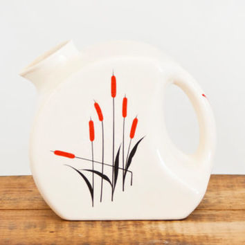 Vintage Universal Cambridge Art Deco Water Jug, Ball Round Ceramic Pitcher, Red and Black Cattails, Pottery Juice Container