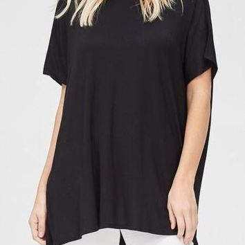 Amelia Curve Dolman Tunic Top in Black