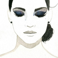 Watercolor Fashion Illustration - Smokey Eye Girl print