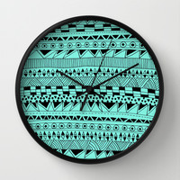 Fun - Black and Mint Wall Clock by Sandra Arduini