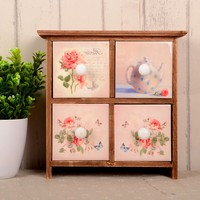 Weathered Storage Box Home Decor Pastoral Style Drawer Vintage Accessory Box [6282969606]