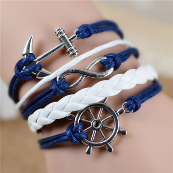 15 Colors Free shipping Fashion Vintage Infinity Anchor Hook Artificial Leather Bracelet, Women Bracelets & Bangles Jewelry