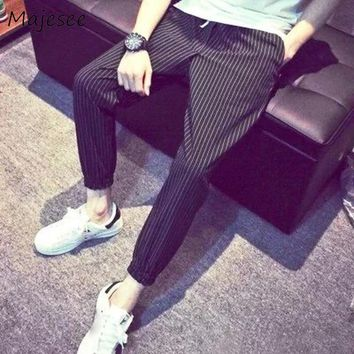 Ulzzang Mens Pencil Pant Korean Style Men Jogger Pants Thin Elastic Waist Pockets Striped Trouser Loose Trousers Casual Fashion