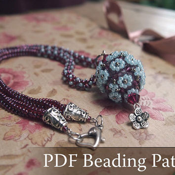 Beading pattern Flower-Ball Necklace, beaded bead tutorial, vintage style necklace beading pattern, PDF