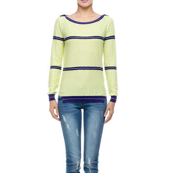 Stripes Knit Tops Slim Round-neck Pullover Bottoming Shirt [4918288324]