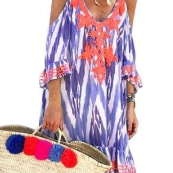Purple Boho Cold Shoulder Vacation Dress