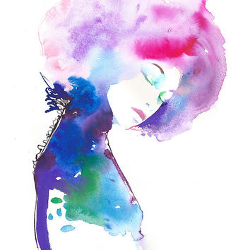 Limited Edition Print Fashion Illustration, Watercolor Print  Titled NeueModelink
