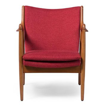 Baxton Studio Shakespeare Mid-Century Modern Retro Red Fabric Upholstered Leisure Accent Chair in Pine Brown Wood Frame Set of 1