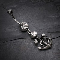 Antique Finish Classy Anchor Belly Button Ring