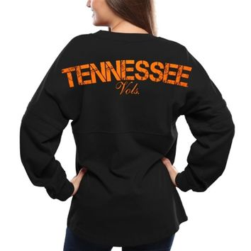 Women's Black Tennessee Volunteers Pom Pom Long Sleeve Jersey Top
