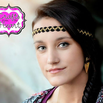 Bohemian Black Headband - Boho Headband - Tribal Aztec Headband - Black and Gold Boho - Forehead Headband - Halo Headband - Adult Headband
