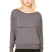 replace hate with love WOMEN'S FLOWY LONG SLEEVE OFF SHOULDER TEE