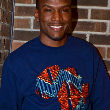 Navy blue and Orance Ankara Crew Sweatshirt