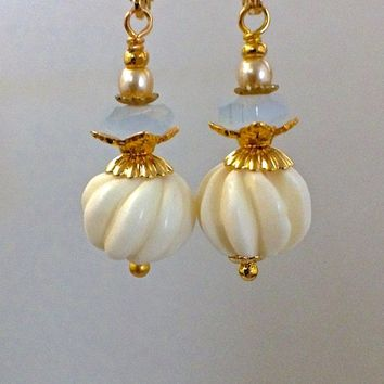 Carved bone earrings, fluted bone, ivory white ...