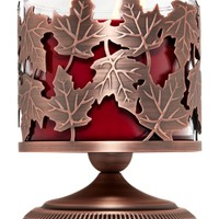3-Wick Candle Sleeve Tossed Leaves Pedestal
