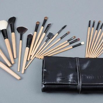 24 Pcs Makeup Brushes Set Professional Bobbi Brown Brand Wood Color Make Up Brush Kits Cosmetics Tools With Roll Up Case - Beauty Ticks