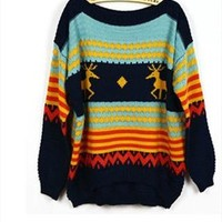 L 071907 Slim deer pattern knitted pullover sweater  from cassie2013