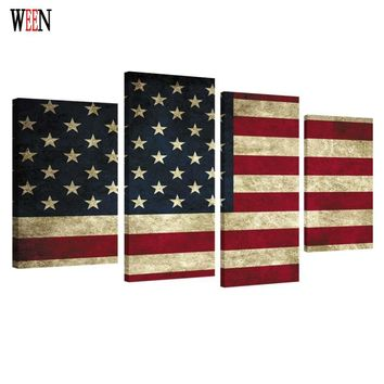 HD Print Framed American flag 4PC Canvas Art Wall Pictures For Living Room Large Modern Cuadros Decoracion Wall Poster 2017