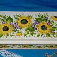 Hand Painted Jewelry Box Wood Jewelry Chest Organizer Holder Vintage Sunflowers