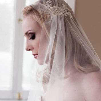 """SALE 42"""" Gold Lace Juliet Bridal Cap Wedding Veil, Lace with Pearls and Sequins, Fingertip, Waltz, Chapel, Cathedral, Style: Rosa Gold #1109"""