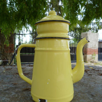 Vintage Enamel Coffee Pot and Filter French Mid by joiedefrance