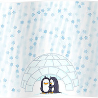 Penguins In Igloo While Snowing Art