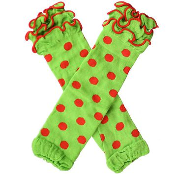 Green Leg Warmers Red Polka Dot Ruffle