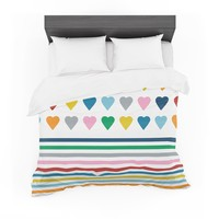 "Project M ""Heart Stripes"" Rainbow Shapes Cotton Duvet"