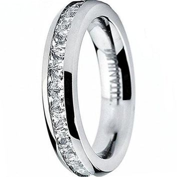CERTIFIED 3MM Ladies Titanium Eternity Engagement Band, Wedding Ring with Pave Set Cubic Zirconia