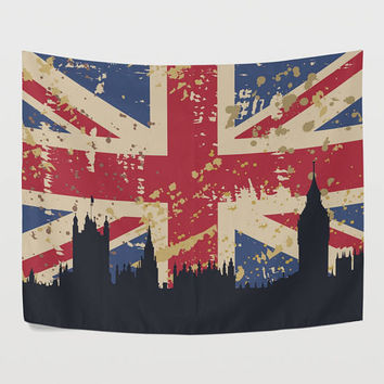 Vintage Union Jack Tapestry Wall Hanging City Sketch United Kingdom Union Flag Wall Decor Art for Bedroom Livingroom Dorm