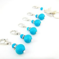 Deep sky blue stones bird removable stitch markers knitting charms set | LittleApples - Knitting on ArtFire