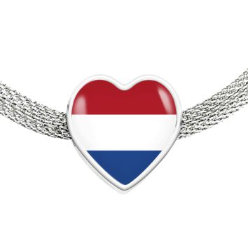 Dutch Pride - Luxury Heart Charm Bracelet